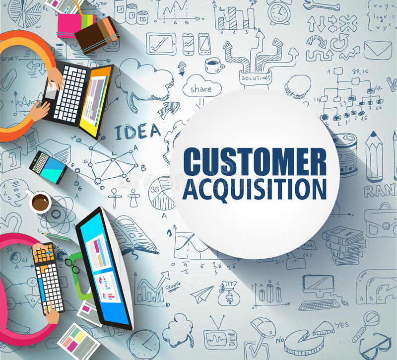 Customer Acquisition concept with Doodle design style:people int. Eview, shop testing, clear selection. Modern style illustration for web banners, brochure and stock illustration