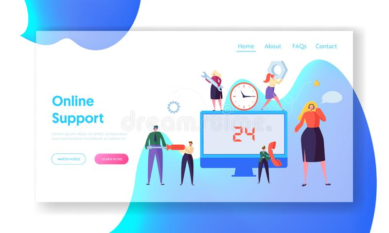Customer Call Service Online Support Landing Page. Technical Hotline Chat Help Center Assistant Technician Character. Customer Helpline Specialist for Web or stock illustration
