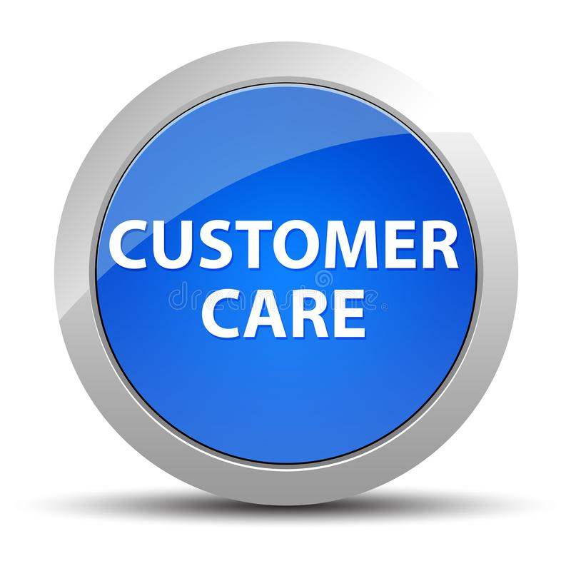 Customer Care blue round button. Customer Care Isolated on blue round button illustration vector illustration