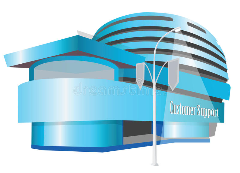 Customer care centre. Building of Customer care centre stock illustration