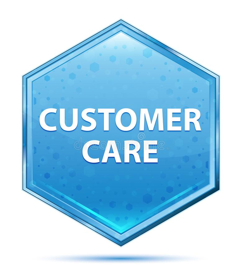 Customer Care crystal blue hexagon button. Customer Care Isolated on crystal blue hexagon button vector illustration