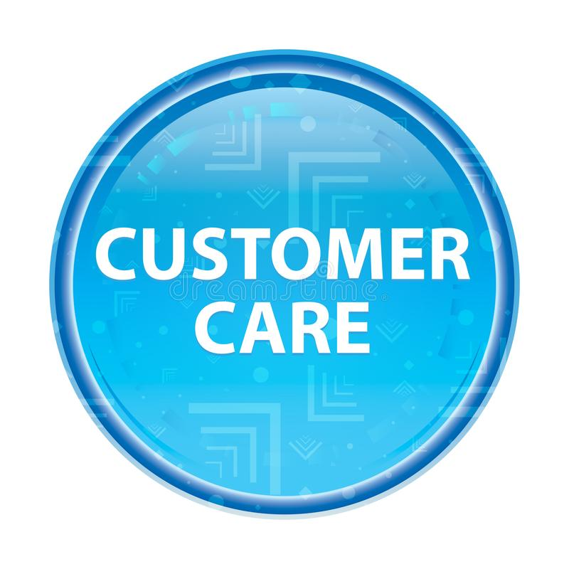 Customer Care floral blue round button. Customer Care Isolated on floral blue round button vector illustration