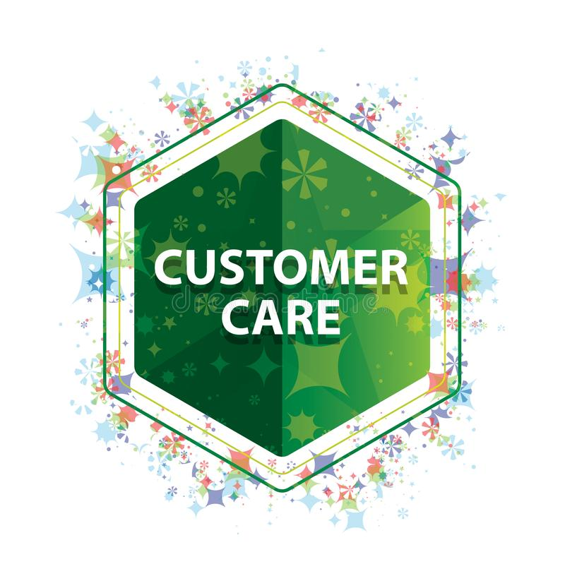 Customer Care floral plants pattern green hexagon button. Customer Care Isolated on floral plants pattern green hexagon button vector illustration