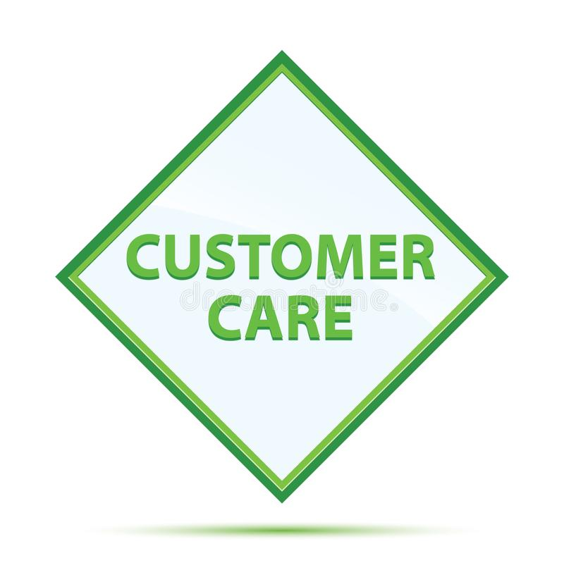 Customer Care modern abstract green diamond button. Customer Care Isolated on modern abstract green diamond button vector illustration