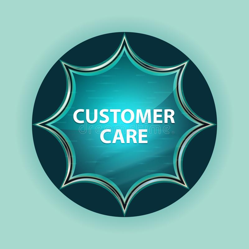Customer Care magical glassy sunburst blue button sky blue background. Customer Care Isolated on magical glassy sunburst blue button sky blue background vector illustration