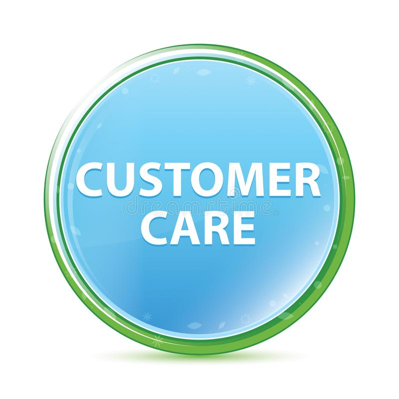 Customer Care natural aqua cyan blue round button. Customer Care Isolated on natural aqua cyan blue round button stock illustration