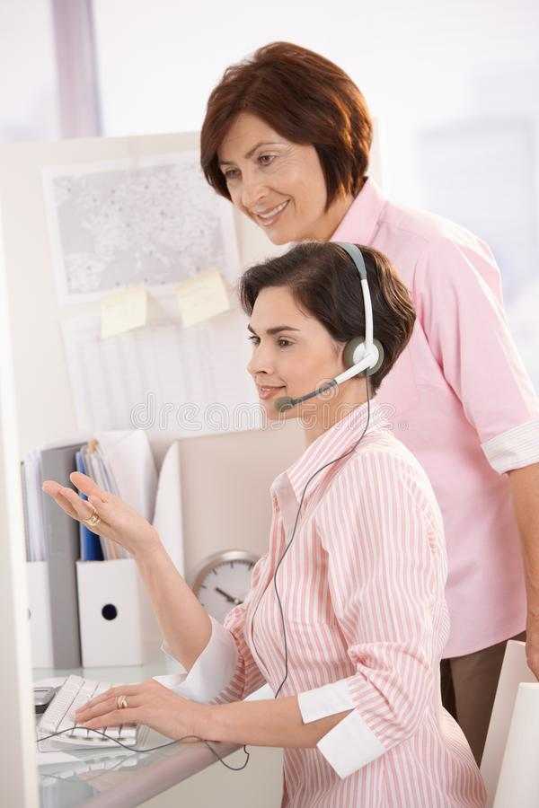 Customer Care Operator With Supervisor Stock Photos
