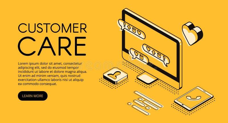 Customer care service vector halftone illustration royalty free illustration