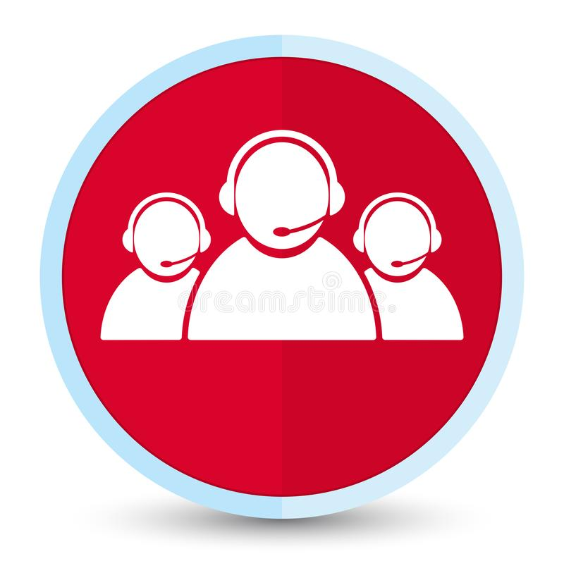 Customer care team icon flat prime red round button. Customer care team icon isolated on flat prime red round button abstract illustration stock illustration