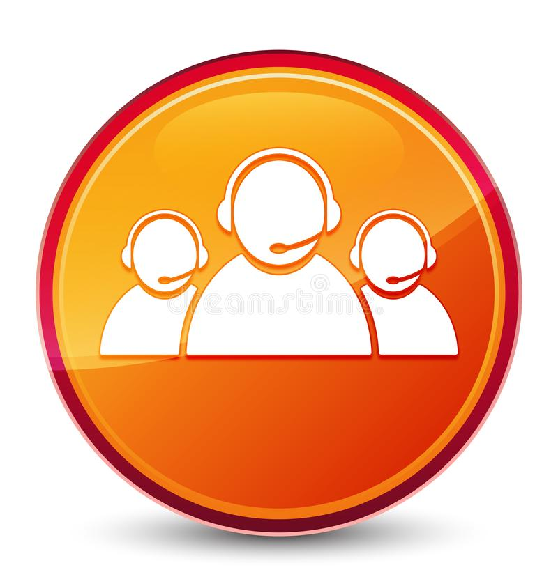 Customer care team icon special glassy orange round button. Customer care team icon isolated on special glassy orange round button abstract illustration vector illustration