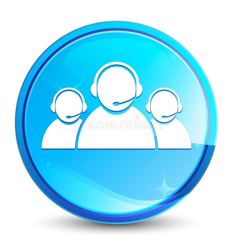 Customer care team icon splash natural blue round button. Customer care team icon isolated on splash natural blue round button abstract illustration stock illustration