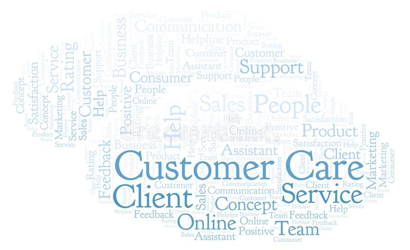 Customer Care word cloud. Made with text only stock illustration