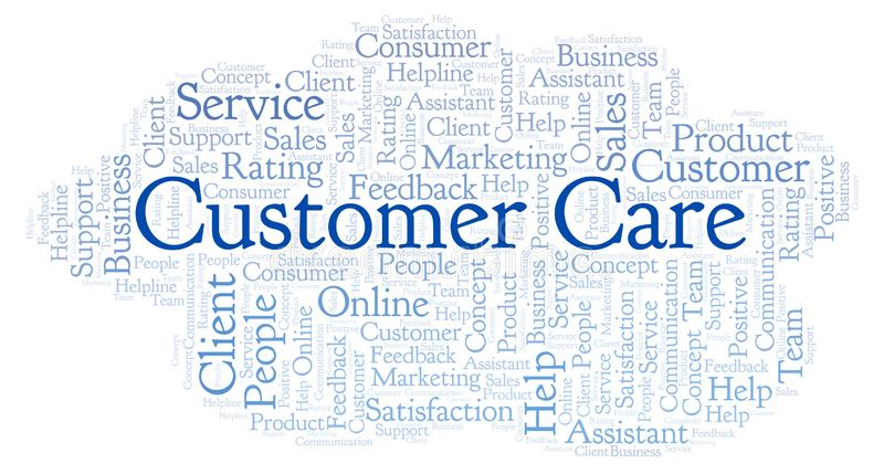 Customer Care word cloud. Made with text only vector illustration