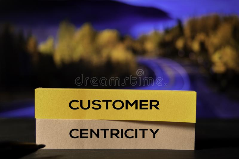 Customer Centricity on the sticky notes with bokeh background royalty free stock image