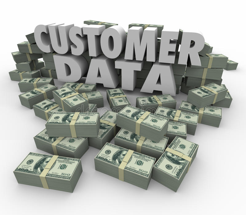 Customer Data 3d Words Money Cash Stacks Piles Valuable Contact. Customer Data in 3d letters and words surrounded by stacks and piles of money earned from sales stock illustration