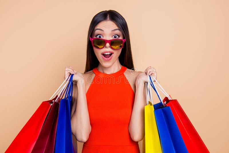 Customer day she her red dress lifestyle leisure person people c stock image