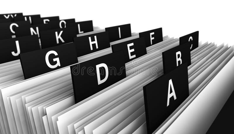 Customer Directory Office Business. Business concept with a close-up view 3d rendering of a office customers directory archive with alphabet letters stock photo