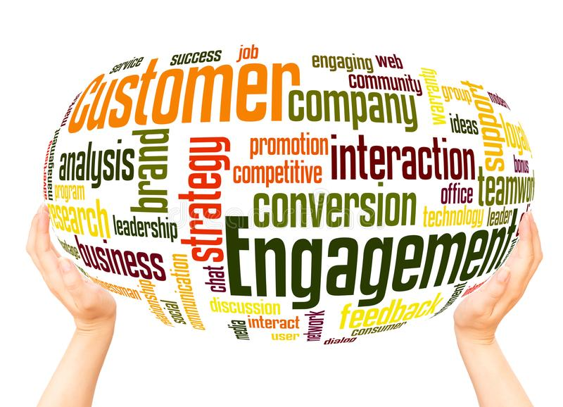Customer engagement word cloud hand sphere concept stock images