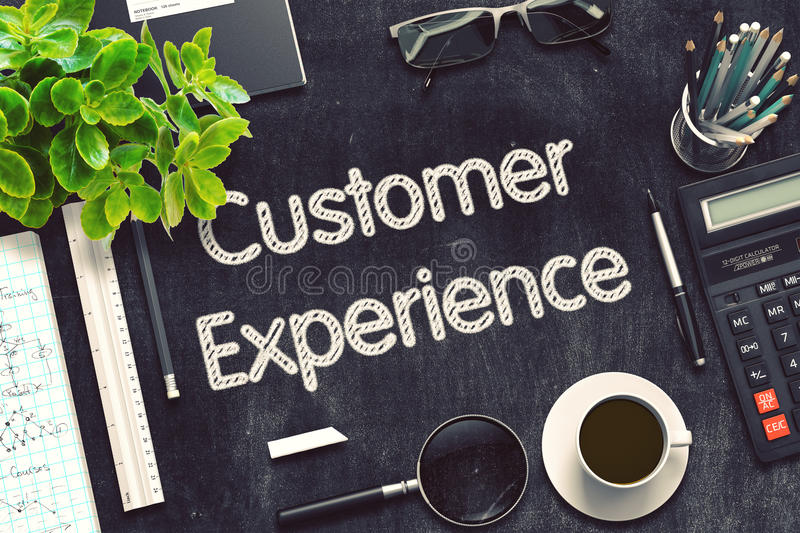 Customer Experience on Black Chalkboard. 3D Rendering. stock photos