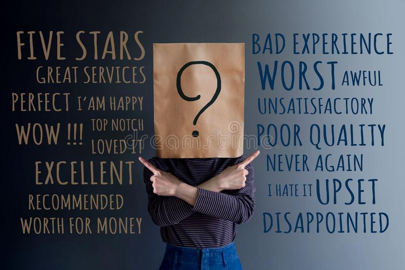 Customer Experience Concept. Client Woman with Question Mark Icon on Paper Bag has Confused to Feedback Review Between Positive. And Negative royalty free stock images