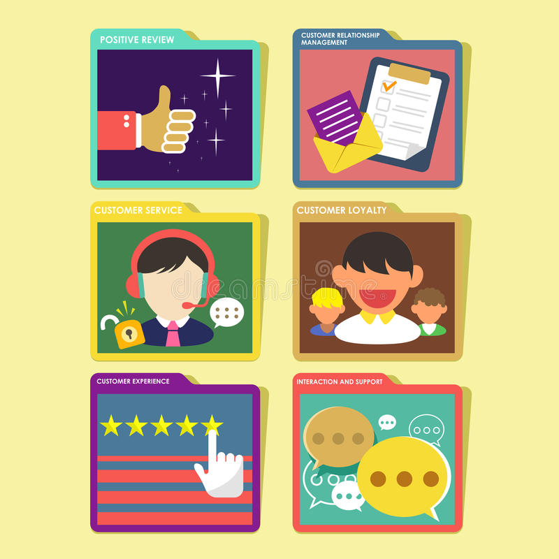 Customer experience concept in flat design stock illustration