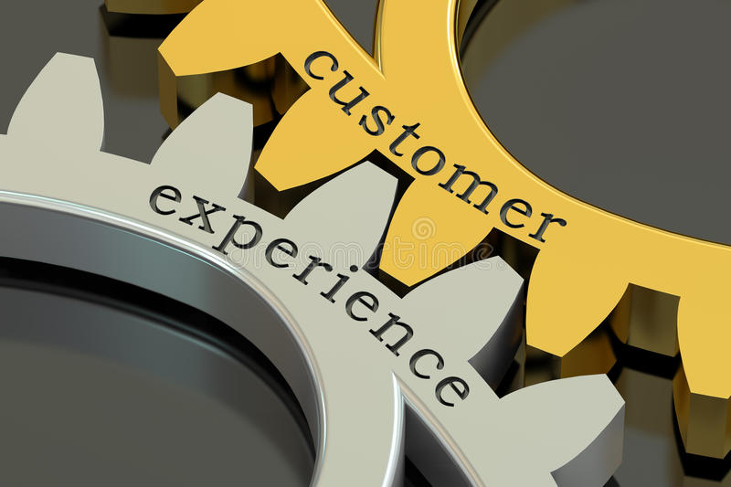Customer Experience concept on the gearwheels, 3D rendering vector illustration