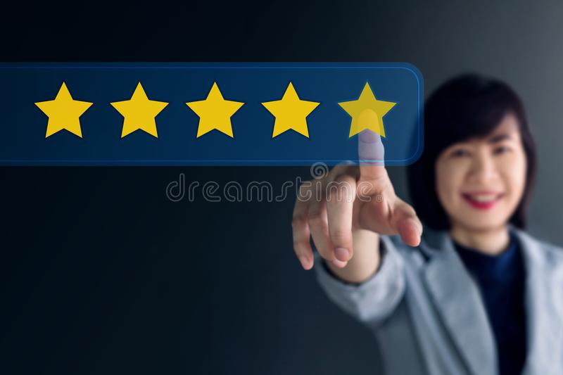 Customer Experience Concept, Happy Business Woman Pressing Five stock photography