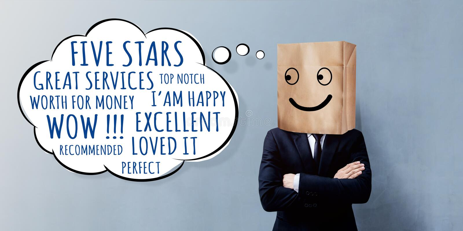 Customer Experience Concept. Happy Businessman Client with Smile stock photos