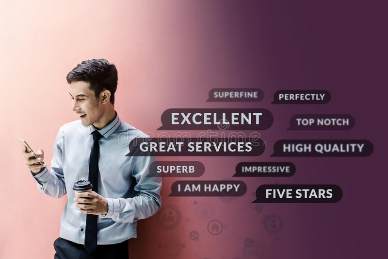 Customer Experience Concept. Happy Businessman using Smart Phone royalty free stock photo