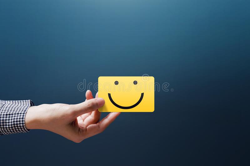 Customer Experience Concept, Happy Client Woman show a Feedback royalty free stock photos