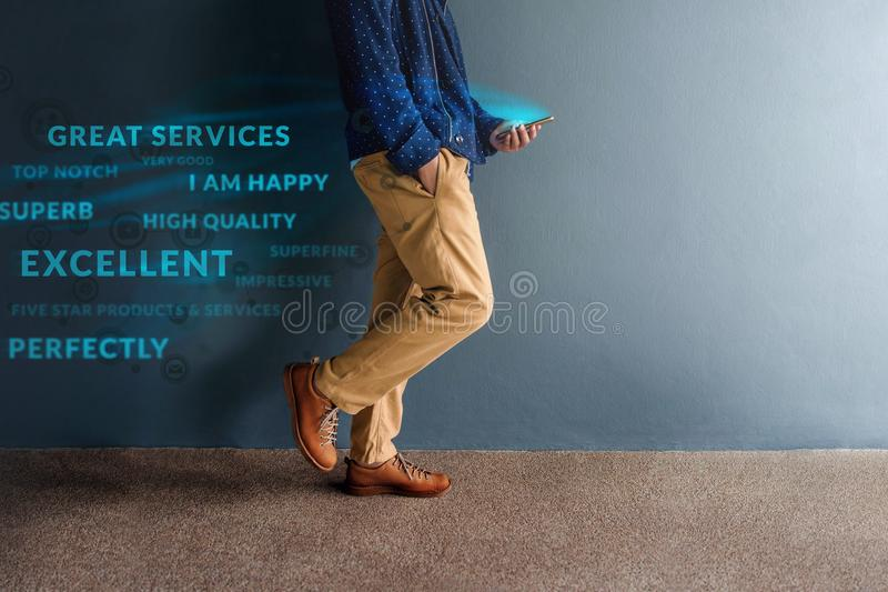 Customer Experience Concept. Person Walking and Reading Positive stock photo