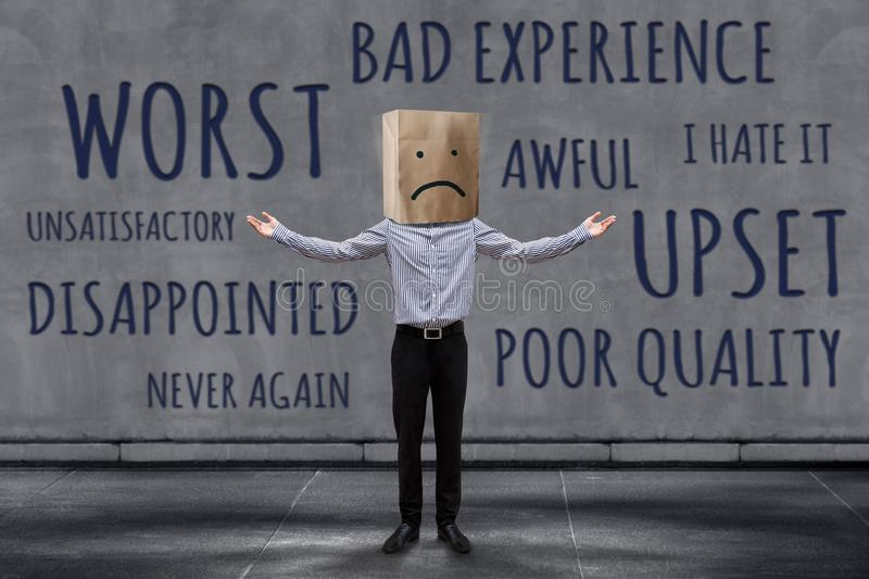 Customer Experience Concept, Unhappy Businessman Client with Sad royalty free stock photo