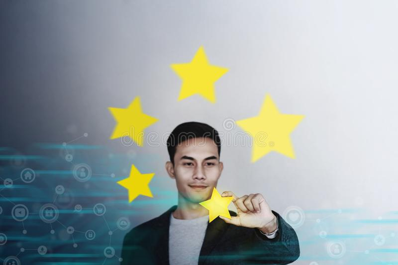 Customer Experience Concept. Young Businessman with Happy Face Showing his Five Star Services Rating Satisfaction stock illustration