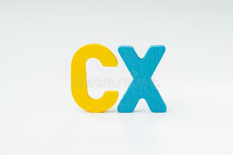 Customer Experience, CX Concept, rating for satisfaction of product and service, colorful word CX with white background, every stock image