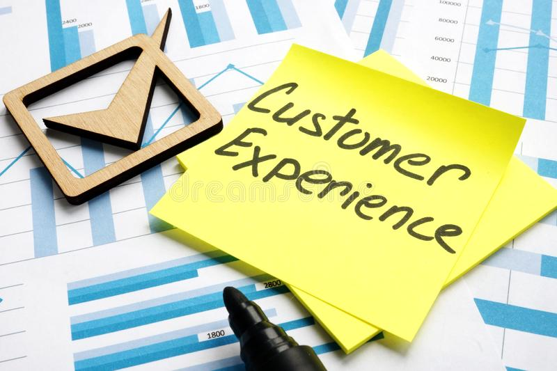 Customer experience management. Business documents and graphs stock photography