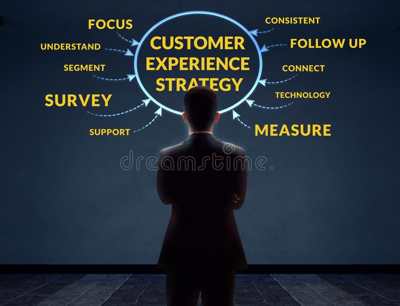 Customer Experience Strategy Concept. Blurred Businessman in Back Side standing in front of the Wall with Diagram stock photos