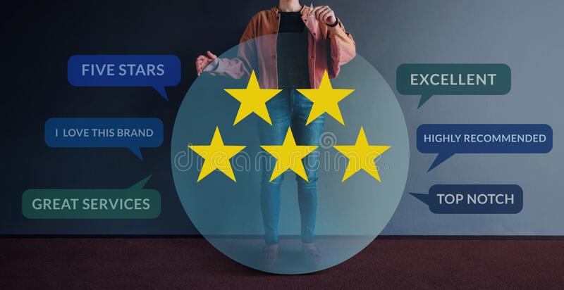 Customer Experiences Concept. Happy Modern People Holding a Transparent Speech Bubble with Five Stars Rating and Positive Review. On Card. Client`s Satisfaction royalty free stock photo