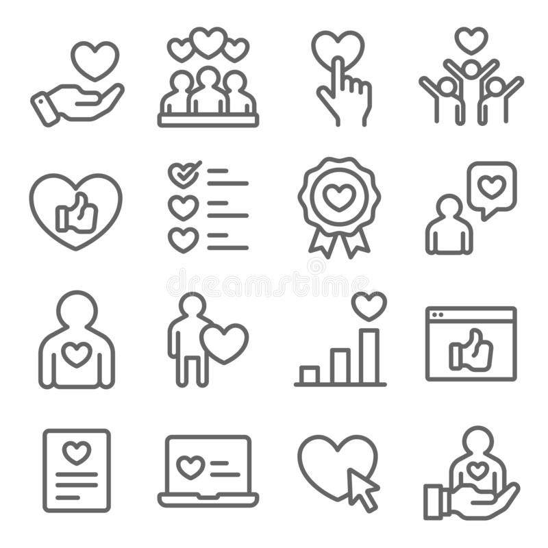 Customer Feedback icons set vector illustration. Contains such icon as User Satisfaction, Rating, Survey, Criminal and more. Expan. Ded stroke vector illustration