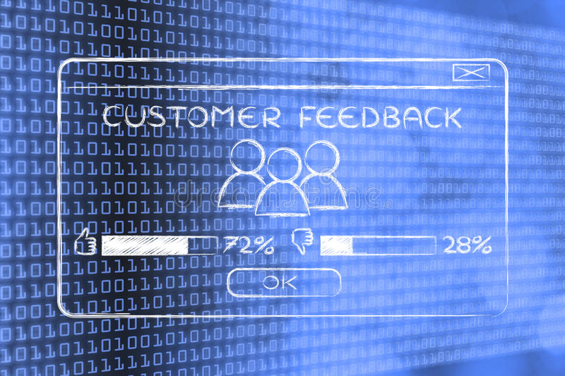 Customer feedback pop-up with users and percentage. Customer feedback: pop-up window with users and positive results royalty free stock photography