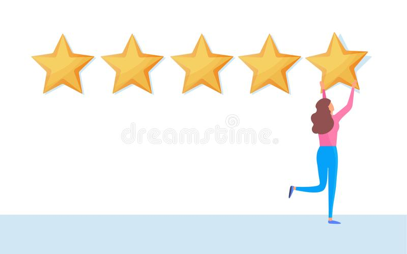 Customer giving five star rating. User feedback review scroll. Cartoon illustration vector graphic. On white background vector illustration