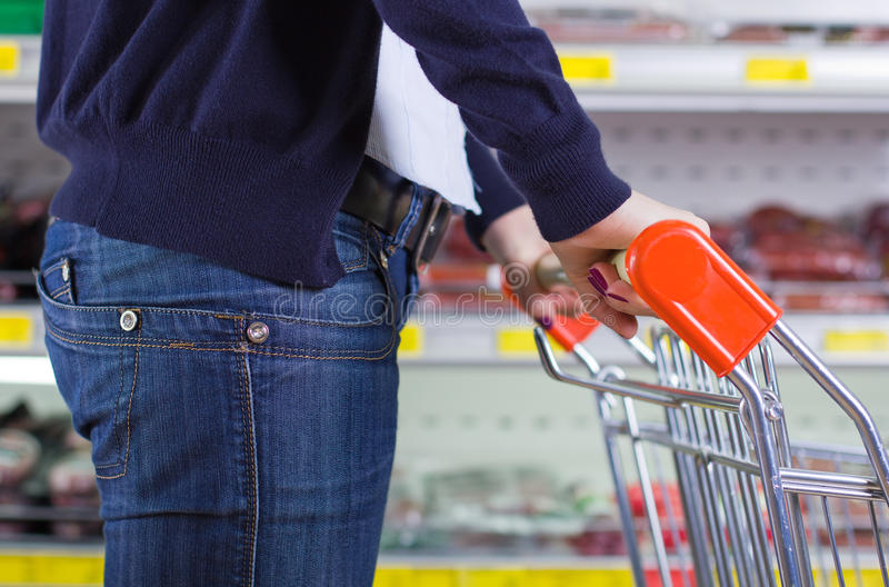 Customer in grocery store royalty free stock photography