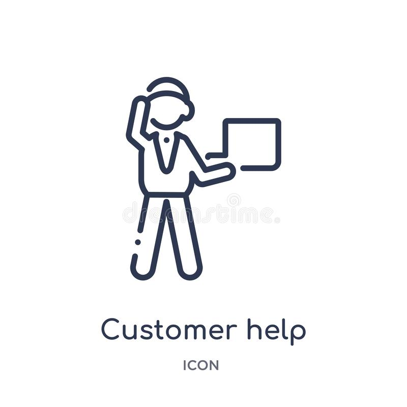 Customer help worker icon from people outline collection. Thin line customer help worker icon isolated on white background royalty free illustration