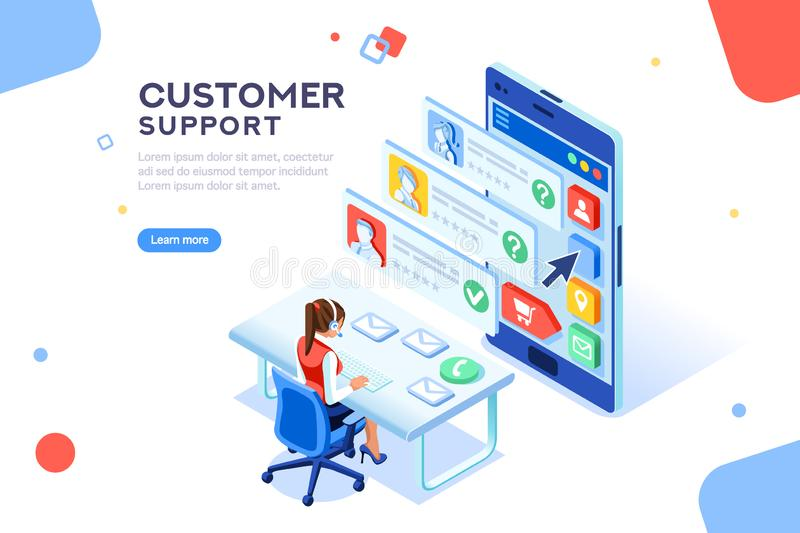 Customer Hotline Consultant Support Concept Vector. Customer support concept. Consultant on hotline chat, telemarketer. Helpdesk talking. Infographic of call royalty free illustration