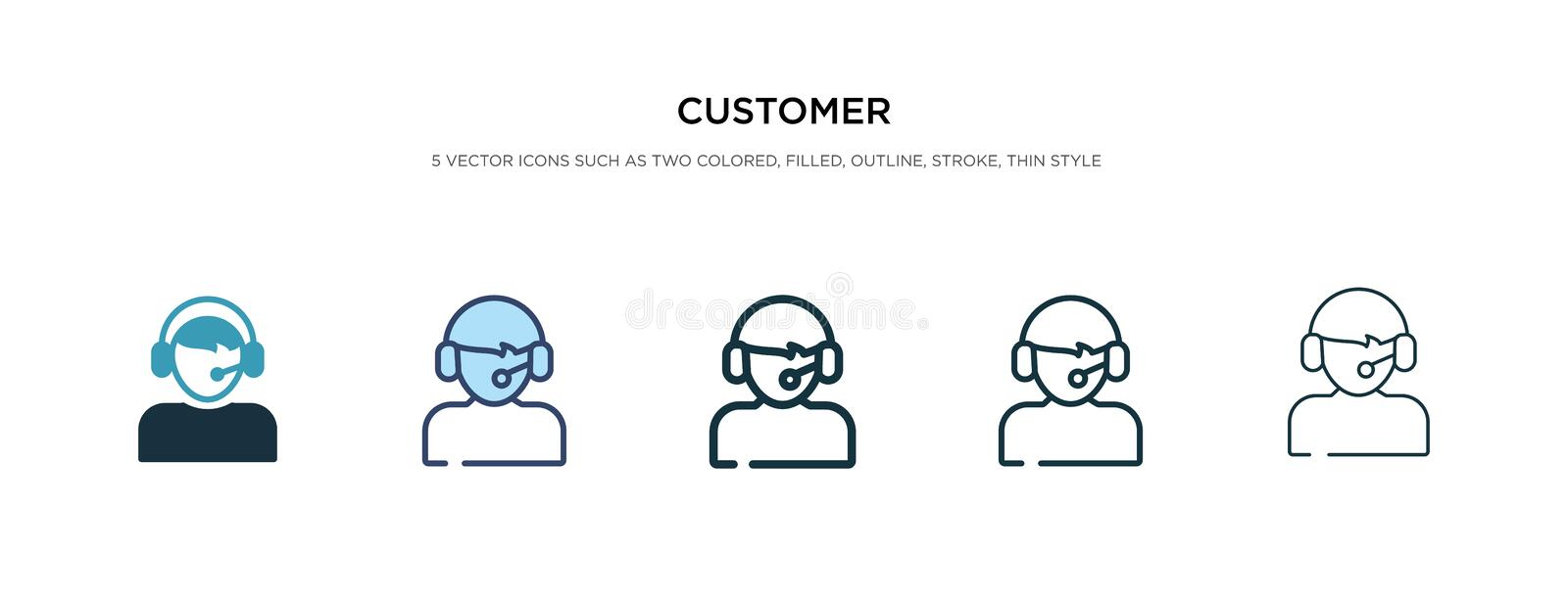 Customer icon in different style vector illustration. two colored and black customer vector icons designed in filled, outline, royalty free illustration