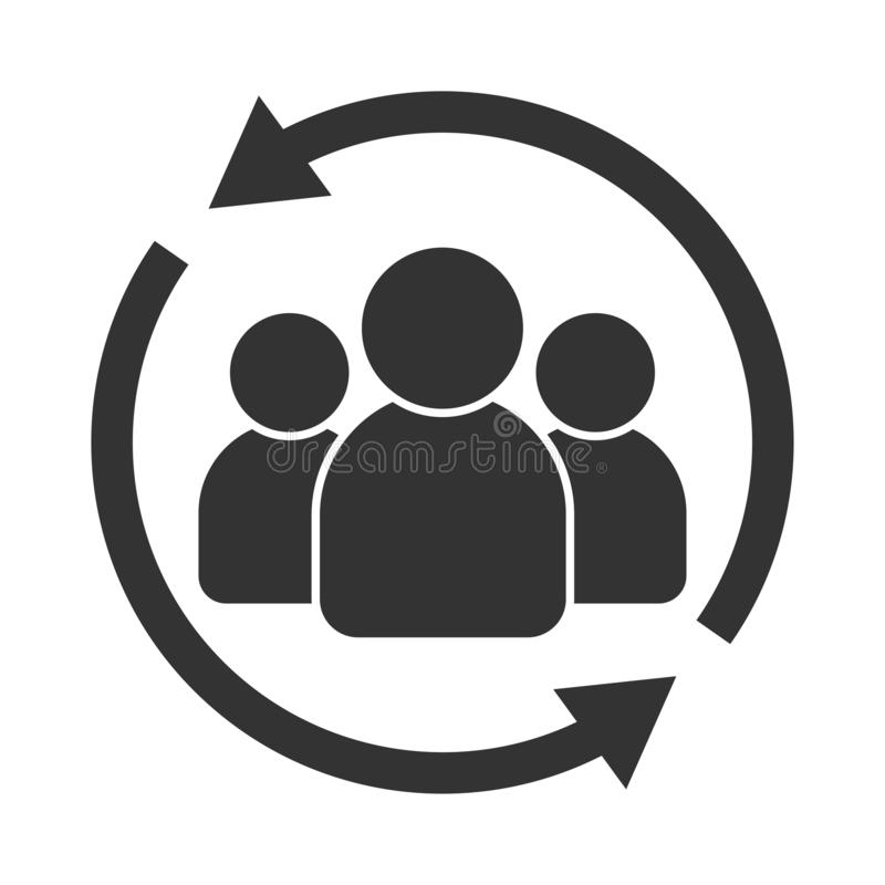 Customer interaction icon. Client returning or renention symbol.  royalty free illustration