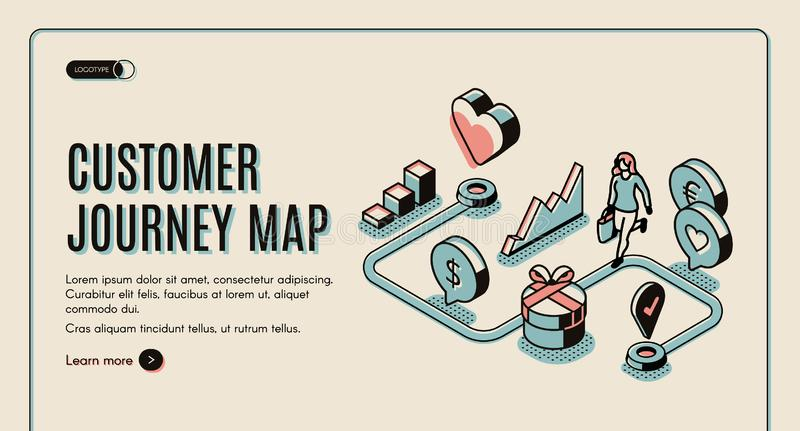 Customer journey map isometric banner. purchasing royalty free illustration