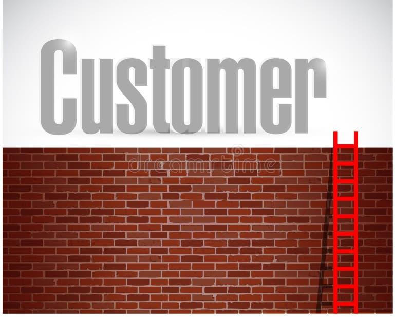 Customer ladder illustration design. Over a brick wall background stock images