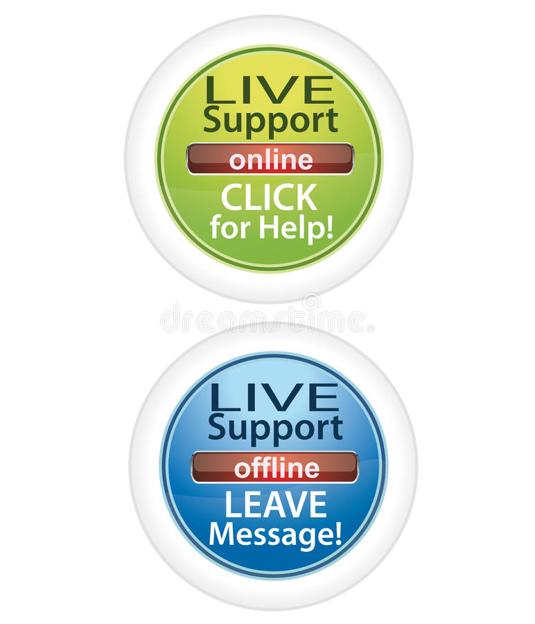 Customer live support buttons vector illustration