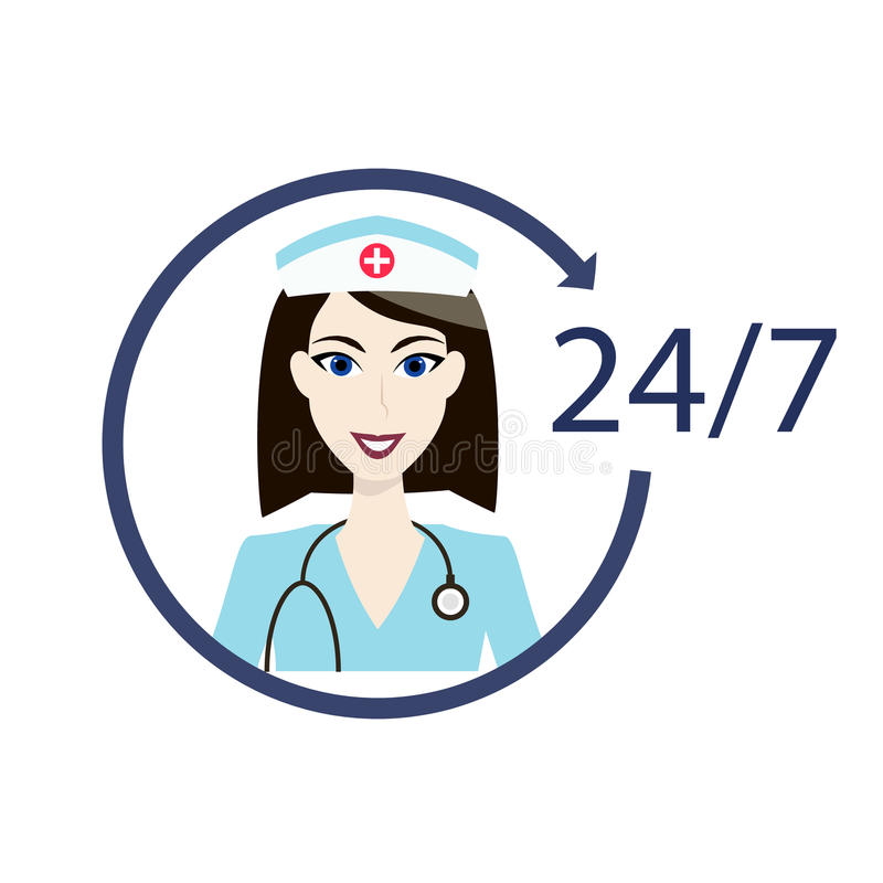 Customer medical service icon. Nurse support assistance sign. 24h hospital avatar.Health care department aid. Customer medical doctor service icon. Nurse support stock illustration