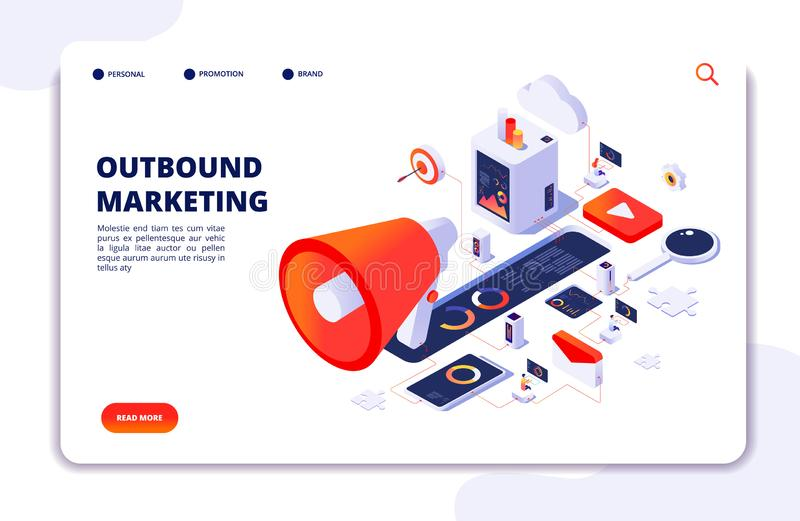 Customer outbound marketing. Online permission marketing, social media crm and business interruption vector landing page. Illustration of optimization online royalty free illustration